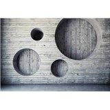 Vliesové fototapety drevená stena s kruhmi  rozmer 375 cm x 250 cm