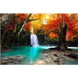 Vliesové fototapety lesný vodopád rozmer 375 cm x 250 cm