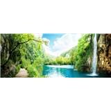 Vliesové fototapety vodopád v skalách rozmer 375 cm x 150 cm