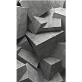 Vliesové fototapety 3D betónové kocky rozmer 150 cm x 250 cm