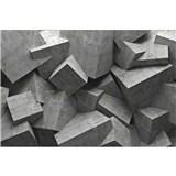 Vliesové fototapety 3D betónové kocky rozmer 375 cm x 250 cm