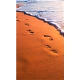 Vliesové fototapety stopy na pobreží rozmer 150 cm x 250 cm