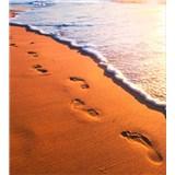 Vliesové fototapety stopy na pobreží rozmer 225 cm x 250 cm