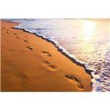 Vliesové fototapety stopy na pobreží rozmer 375 cm x 250 cm