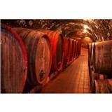Vliesové fototapety sudy s vínom rozmer 375 cm x 250 cm