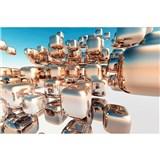 Vliesové fototapety 3D strieborné kocky rozmer 375 cm x 250 cm