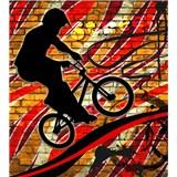 Vliesové fototapety bicycle red rozmer 225 cm x 250 cm
