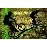 Vliesové fototapety bicycle green rozmer 375 cm x 250 cm