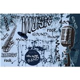 Vliesové fototapety music blue rozmer 375 cm x 250 cm