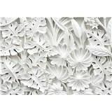 Vliesové fototapety 3D kvety biele rozmer 368 cm x 254 cm
