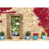 Vliesové fototapety kamenná stena s oknom, rozmer 152,5 cm x 104 cm