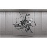 Vliesové fototapety 3D sivý abstrakt na betónovom podklade, rozmer 152,5 cm x 104 cm