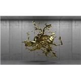 Vliesové fototapety 3D zlatý abstrakt na betónovom podklade, rozmer 312 cm x 219 cm