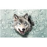 Vliesové fototapety 3D vlk, rozmer 104 cm x 70,5 cm