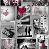 Papierové tapety na stenu Freestyle Love srdiečka červené