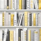 Papierové tapety na stenu Freestyle knižnica žlto-čierna