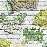 Papierové tapety na stenu Freestyle grafitti zelené na bielej tehlovej stene