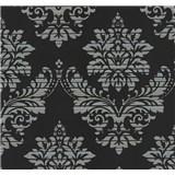 Vliesové tapety na stenu Glamour zámocký vzor strieborný na čiernom podklade