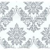Vliesové tapety na stenu Glamour zámocký vzor strieborný na bielom podklade