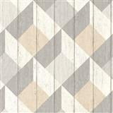 Vliesové tapety na stenu Unplagged 3D drevené dosky biela, sivá, béžová