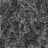 Vliesové tapety na stenu Graphics Alive - konáre stromov strieborné na čiernom podklade