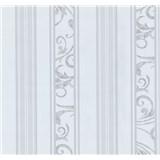Tapety na stenu Graziosa pruhy s ornamentom bielo-sivé