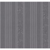 Tapety na stenu Graziosa pruhy s ornamentom sivo-fialové