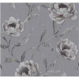 Tapety na stenu Graziosa kvety tmavo fialové na sivom podklade