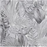 Vliesové tapety na stenu Greenery florálny vzor sivý