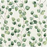 Vliesové tapety na stenu Greenery lístky brezy zelené na bielom podklade