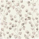 Vliesové tapety na stenu Greenery lístky brezy čierno-sivé na bielom podklade
