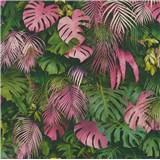 Vliesové tapety na stenu Greenery palmové listy a listy Monstera ružovo-zelené