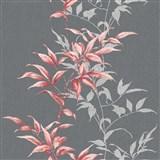 Vliesové tapety na stenu IMPOL Hailey popínavé listy červené na tmavo sivom podklade