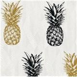 Vliesové tapety na stenu Il Decoro ananásy zlaté a čierne na bielom podklade