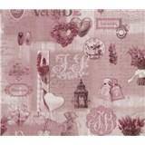 Papierové tapety na stenu Je T´aime provance ružový