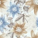 Vliesové tapety na stenu G. M. Kretschmer II kvety modré a hnedé