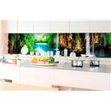 Samolepiace tapety za kuchynskú linku vodopády v lese rozmer 350 cm x 60 cm