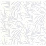 Luxusné vliesové tapety na stenu LACANTARA listy strieborné na bielom podklade