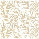 Luxusné vliesové tapety na stenu LACANTARA listy zlaté na bielom podklade