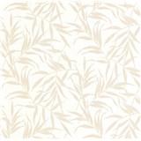 Luxusné vliesové tapety na stenu LACANTARA listy svetlo zlaté na bielom podklade