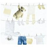 Detské vliesové tapety na stenu Little Stars Detské oblečenie modro-hnedé