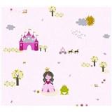Detské vliesové tapety na stenu Little Stars princezná a žabka na ružovom podklade