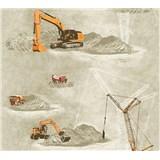 Detské vliesové tapety na stenu Little Stars stavebné stroje oranžové na hnědom podklade