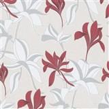 Vliesové tapety na stenu IMPOL Luna veľké lesklé kvety červeno-strieborné