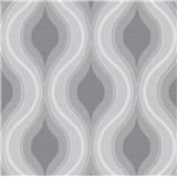 Vliesové tapety na stenu IMPOL Luna retro vlnovky sivo-biele