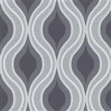 Vliesové tapety na stenu IMPOL Luna retro vlnovky čierno-sivé