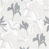 Vliesové tapety IMPOL Luna2 kvety strieborno-biele na textilnom podklade so striebornou niťou
