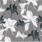 Vliesové tapety na stenu IMPOL Luna2 kvety černo-biele na sivom podklade so striebornou niťou