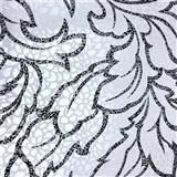 Vliesové tapety na stenu Messina - listy strieborno-čierne