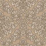 Vliesové tapety na stenu Mixing zámocký vzor zlatý na hnedom podklade - POSLEDNÉ KUSY